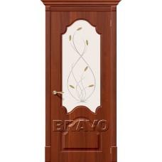 Дверь BRAVO Скинни-33 ДО П-31 Итальянский орех со стеклом Орхидея