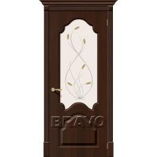 Дверь BRAVO Скинни-33 ДО П-33 Венге со стеклом Орхидея