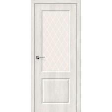 Дверь BRAVO Скинни-13 ДО Casablanca стекло White Crystal