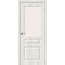 Дверь BRAVO Скинни-15 ДО Casablanca стекло White Crystal