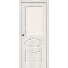 Дверь BRAVO Скинни-21 ДО Casablanca стекло White Crystal