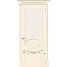 Дверь эмаль BRAVO Скинни-21 ДО Cream со стеклом Crystal