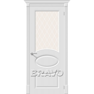 Дверь эмаль BRAVO Скинни-21 ДО Whitey со стеклом Кристалл