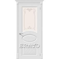 Дверь эмаль BRAVO Скинни-21 Art ДО Whitey со стеклом художественным
