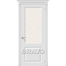 Дверь эмаль BRAVO Скинни-13 ДО Whitey со стеклом Crystal