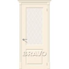 Дверь эмаль BRAVO Скинни-13 ДО Cream со стеклом Crystal