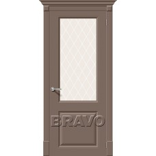 Дверь эмаль BRAVO Скинни-13 ДО Mocca со стеклом Crystal
