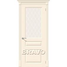 Дверь эмаль BRAVO Скинни-15.1 ДО Cream cо стеклом Crystal