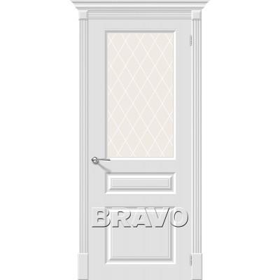 Дверь эмаль BRAVO Скинни-15.1 ДО Whitey со стеклом Crystal