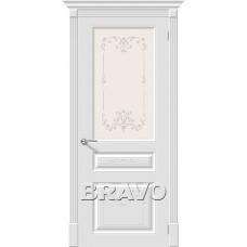 Дверь эмаль BRAVO Скинни-15.1 Art ДО Whitey со стеклом художественным