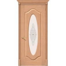 Дверь шпонированная BRAVO Аура ДО Ф-01 Дуб со стеклом художественным