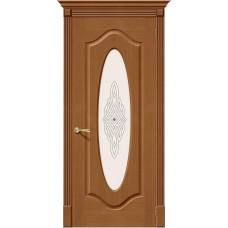 Дверь шпонированная BRAVO Аура ДО Ф-11 Орех со стеклом художественным