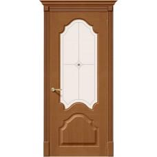 Дверь шпонированная BRAVO Афина ДО Ф-11 Орех со стеклом художественным