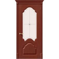 Дверь шпонированная BRAVO Афина ДО Ф-15 Макоре со стеклом художественным