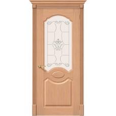 Дверь шпонированная BRAVO Селена ДО Ф-01 Дуб со стеклом художественным
