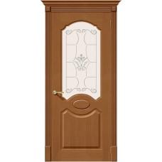 Дверь шпонированная BRAVO Селена ДО Ф-11 Орех со стеклом художественным