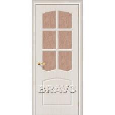 Дверь BRAVO Альфа ДО П-20 Беленый дуб со стеклом 118