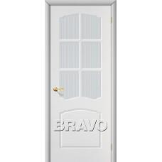 Дверь BRAVO Альфа ДО П-23 Белый со стеклом Кризет