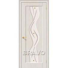 Дверь BRAVO Вираж ДО П-20 Беленый дуб со стеклом художественным