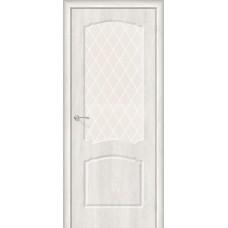 Дверь ПВХ BRAVO Альфа 2 Casablanca со стеклом White Сrystal