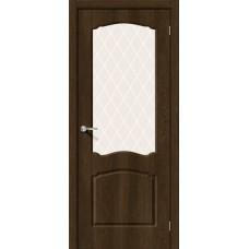 Дверь ПВХ BRAVO Альфа 2 Dark Barnwood со стеклом White Сrystal