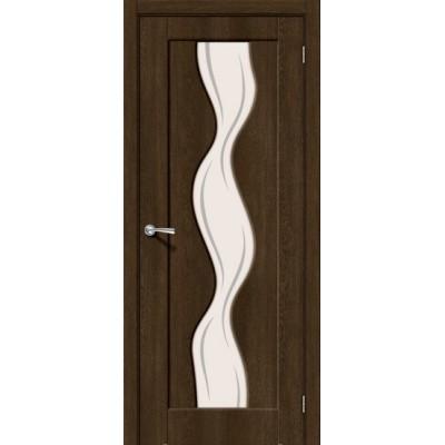 Дверь ПВХ BRAVO Вираж 2 Dark Barnwood Art Glass