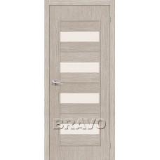 Дверь BRAVO Тренд-23 ДО 3D Cappuccino со стеклом Magic Fog