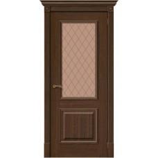 Дверь шпонированная BRAVO MR.WOOD Вуд Классик-13 ДО Golden Oak со стеклом Bronze Сrystal