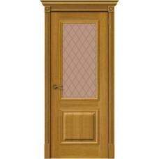 Дверь шпонированная BRAVO MR.WOOD Вуд Классик-13 ДО Natur Oak со стеклом Bronze Сrystal