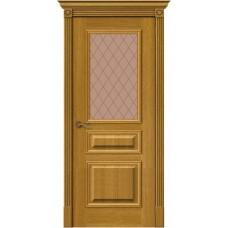 Дверь шпонированная BRAVO MR.WOOD Вуд Классик-15.1 ДО Natur Oak со стеклом Bronze Сrystal