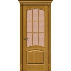 Дверь шпонированная BRAVO MR.WOOD Вуд Классик-33 ДО Natur Oak со стеклом Bronze Gloria