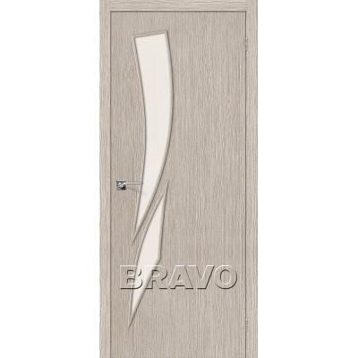 Дверь BRAVO Мастер-10 ДО 3D Cappuccino со стеклом Magic Fog
