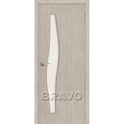 Дверь BRAVO Мастер-8 ДО 3D Coppuccino со стеклом Magic Fog
