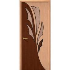 Дверь шпонированная BRAVO Дуэт ДО Ф-01 Дуб со стеклом 121
