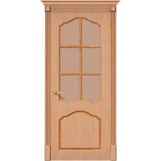 Дверь шпонированная BRAVO Каролина ДО Ф-01 Дуб со стеклом 118