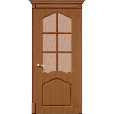 Дверь шпонированная BRAVO Каролина ДО Ф-11 Орех со стеклом 118