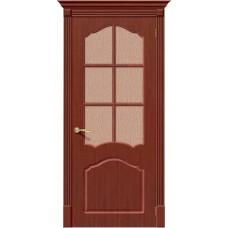 Дверь шпонированная BRAVO Каролина ДО Ф-15 Макоре со стеклом 118