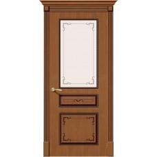 Дверь шпонированная BRAVO Классика ДО Ф-11 Орех со стеклом художественным