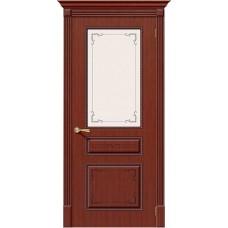 Дверь шпонированная BRAVO Классика ДО Ф-15 Макоре со стеклом художественным