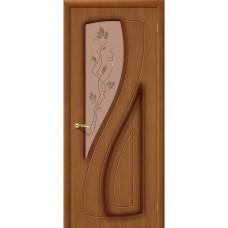 Дверь шпонированная BRAVO Лагуна ДО Ф-11 Орех со стеклом художественным