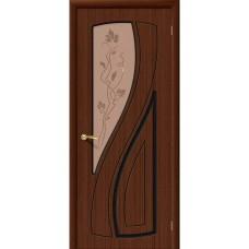 Дверь шпонированная BRAVO Лагуна ДО Ф-17 Шоколад со стеклом художественным