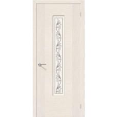 Дверь шпонированная BRAVO Рондо ДО Ф-22 Беленый дуб со стеклом художественным