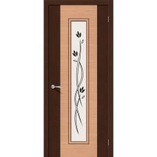 Дверь шпонированная BRAVO Этюд ДО Ф-27 Венге / Ф-01 Дуб со стеклом художественным