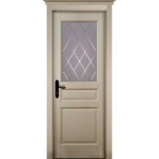 Дверь массив ольхи ОКА Валенсия ДО Эмаль слоновая кость