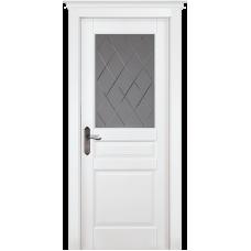 Дверь массив сосны браш ОКА Валенсия ДО Эмаль белая