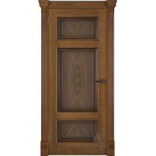 Дверь RegiDoors Мадрид ДО Patina Antico с витражом Мираж
