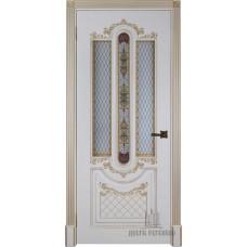 Дверь RegiDoors Александрия 2 ДО Эмаль Слоновая кость с золотой патиной