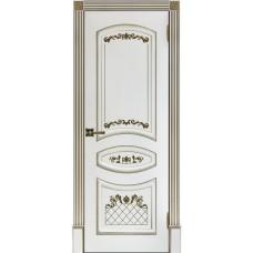 Дверь RegiDoors Алина-2 ДГ Эмаль Белая с золотой патиной