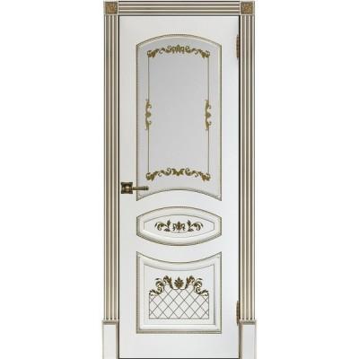 Дверь RegiDoors Алина-2 ДО Эмаль Белая с золотой патиной