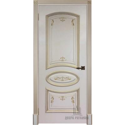 Дверь RegiDoors Багет-3 ДГ Эмаль Слоновая кость с золотой патиной